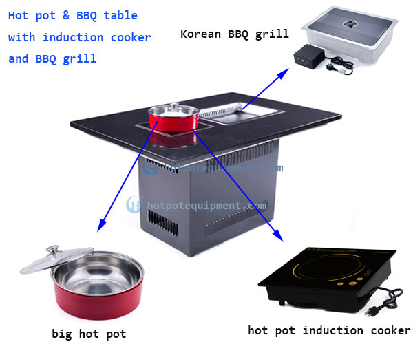 hot pot induction cooker built in hot pot table - CENHOT